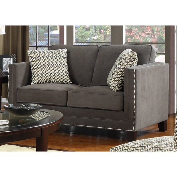 Tribecca Home Tufted Button Back Peat Microfiber Side: Charcoal Grey Contemporary Loveseat