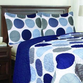Blue Polka Dot 3-piece Quilt Set