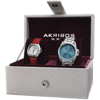 Akribos XXIV Women's Swiss Quartz Diamond Date Indicator Watch Set