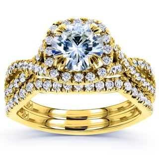 Annello 14k Yellow Gold Moissanite and 3/4ct TDW Diamond Bridal Rings Set (G-H, I1-I2)