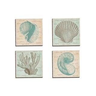 Erin Clark 'Sea Study Coral' Framed Canvas Wall Art (Set of 4)