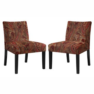 angelo:HOME Bradstreet Soft Velvety Paisley Red Wine Armless Chair - Set of 2