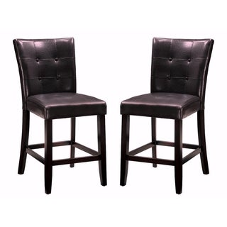 Dark Brown Button Tufted Counter-deight Dining Stools (Set of 2)