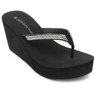 Wild Diva ACACIA-05 Women's Fashion Slip On Rhinestone Flip Flop Platform Wedges