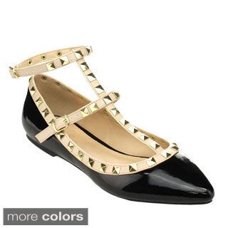 Wild Diva PIPPA-35 Women's Pyramid Studded T-strap Ankle Strap Ballet Flats