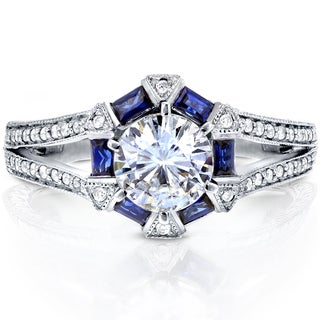 Annello 14k White Gold Round-cut Moissanite, Blue Sapphire and 1/4ct TDW Diamond Art Deco Engagement Ring (G-H, I1-I2)
