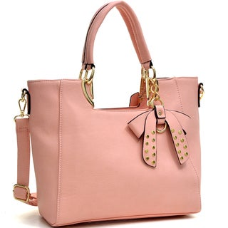 Dasein Metal Handle Faux Leather Structured Satchel with Bow Accent