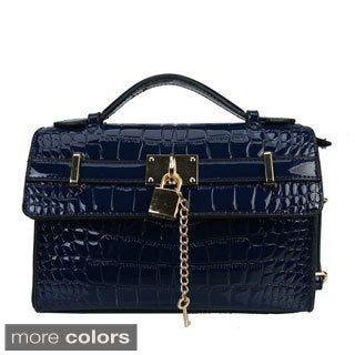 Diophy Patent Leather Crocodile Texture Messenger Crossbody Purse