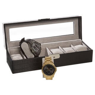 Watch It Box Black Embossed Leather Watch Holder with Window