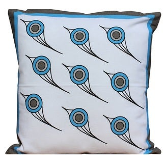 Blue Printed Bird Cotton Pillow with Polyester Insert