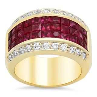 14k Yellow Gold 3/4ct TDW Diamond and 3-row Ruby Ring (E-F, VS1-VS2)