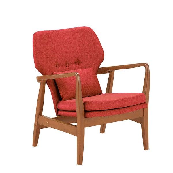 Baxton Studio Dobra Mid Century Modern Walnut Finished Red Fabric Upholstered