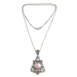 Silver 'Frangipani Trio' Pearl Topaz Necklace (12mm) (Indonesia)