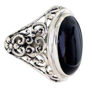 Men's Sterling Silver 'Song of the Night' Onyx Ring (Indonesia)