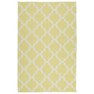 Indoor/Outdoor Laguna Yellow and Ivory Trellis Flat-Weave Rug (9'0 x 12'0)