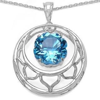 Malaika Malaika Sterling Silver Round Swiss Blue Topaz Necklace