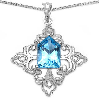 Malaika Malaika Sterling Silver 6ct Swiss Blue Topaz Necklace