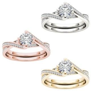 De Couer 14k Gold 1ct TDW Diamond Criss-Cross Engagement Ring (H-I, I2)