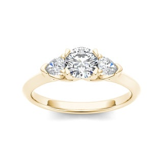De couer 14k Gold 1ct TDW Diamond Three-Stone Anniversary Ring (H-I, I2)
