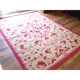 Floral Red Beige Pool Patio Lanai Deck Area Rug Area Rug (7'10 X 10'6)