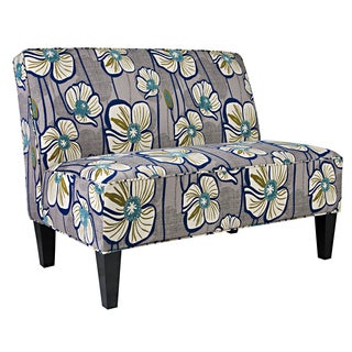 Better Living Madigan Grey and Turquoise Floral Armless Settee