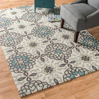 Hand-hooked Charlotte Ivory/ Metal Rug (5'0 x 7'6)
