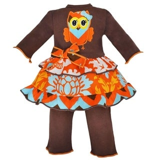AnnLoren Boutique Fall Chevron Owl 2-piece Doll Outfit