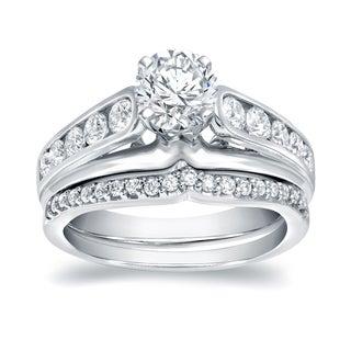 Auriya 14k White Gold 1 1/4ct TDW Round Diamond Bridal Ring Set (H-I, VS1-VS2)