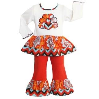 AnnLoren Girls' Autumn Damask/ Chevron Turkey 2-piece Outfit