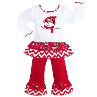AnnLoren Girls' Christmas Frosty the Snowman Cotton Holiday 2-piece Outfit
