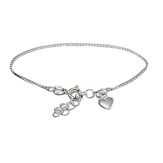 Italian Sterling Silver Children's Dangle Heart Charm Box Chain Bracelet