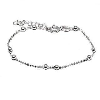 Italian Sterling Silver Children's 2-ball Diamond-cut Chain Bead Bracelet