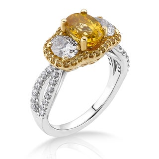 18k Two-tone Gold 1ct TDW Yellow Sapphire and White Diamond Bridal Ring (G-H, SI)