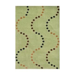 Alliyah Hand Made Green Glow New Zealand Blend Wool Rug 9'x12'