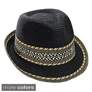 KC Signatures Melanie Packable Fedora with Classic Pattern and Sharp Brim