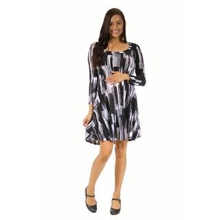 24/7 Comfort Apparel Women's Maternity Brush Stroke Printed Dress