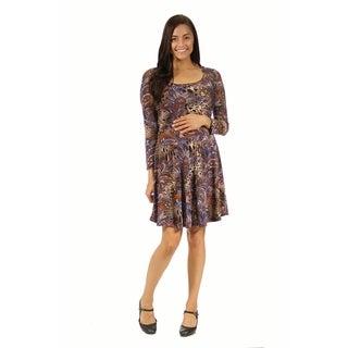 24/7 Comfort Apparel Women's Animal Paisley Print Maternity Dress