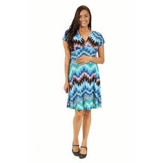 24/7 Comfort Apparel Women's Maternity Cool Blue Empire Dress