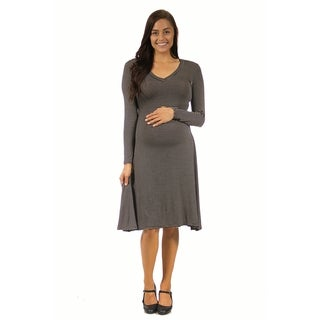 24/7 Comfort Apparel Women's Maternity Belted Stripe Print Dress