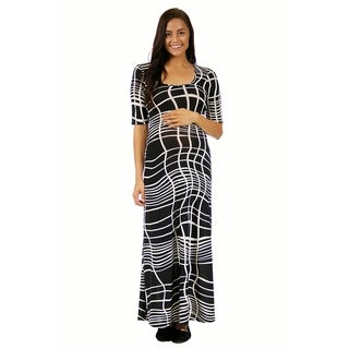 24/7 Comfort Apparel Women's Abstract Floral Print Maternity Maxi
