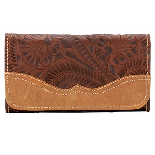 American West Chestnut Brown Birds of a Feather Tri-Fold Wallet