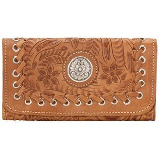 American West Silver/ Tan Harvest Moon Tri-Fold Wallet