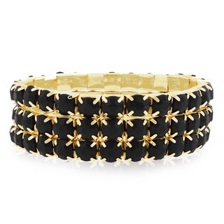 18k Gold Overlay 60ct Black Onyx Crystal Bracelets (Set of 3)