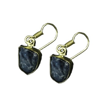 Goldplated Brass Apatite Rough-cut Gemstone Earrings (India)