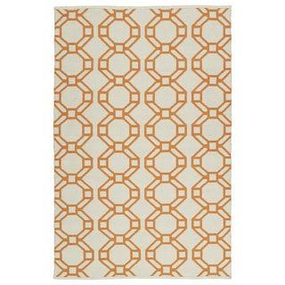 Indoor/Outdoor Laguna Ivory and Orange Geo Flat-Weave Rug (9'0 x 12'0)