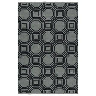 Indoor/Outdoor Laguna Grey and Black Geo Flat-Weave Rug (9'0 x 12'0)