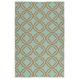 Indoor/Outdoor Laguna Turquoise and Orange Geo Flat-Weave Rug (9'0 x 12'0)