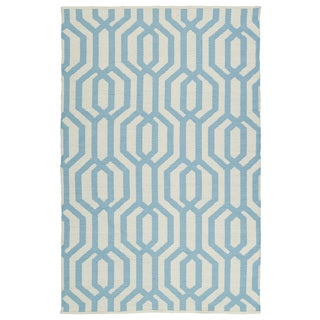 Indoor/Outdoor Laguna Ivory and Spa Blue Geo Flat-Weave Rug (9'0 x 12'0)