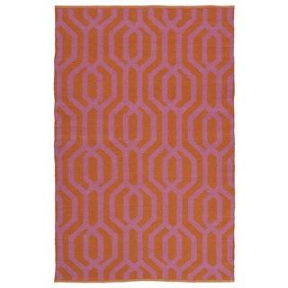 Indoor/Outdoor Laguna Paprika and Pink Geo Flat-Weave Rug (9'0 x 12'0)