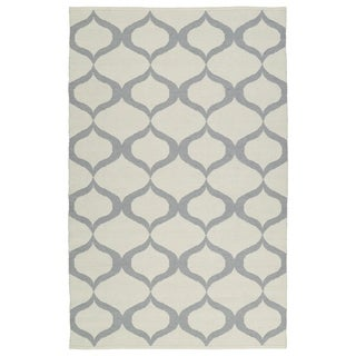 Indoor/Outdoor Laguna Ivory and Grey Geo Flat-Weave Rug (9'0 x 12'0)